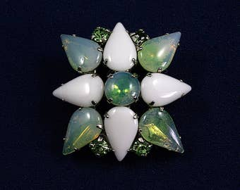 Vintage milk glass brooch givre glass brooch green rhinestone brooch unsigned jewelry gift for Mom