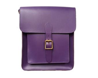 Purple Leather Messenger Satchel - Handmade in UK