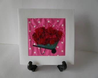 Wheelbarrow Red Textile Art