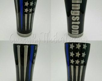 Thin blue line bullet flag Ozark Trail tumbler, police tumbler, back the blue tumbler, thin blue line tumbler, thin blue line cup
