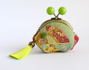 Hand crafted gold embossed Japanese coin purse with kiss lock frame and large beads - collectable #0009