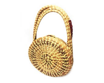 Vintage unique round wicker purse