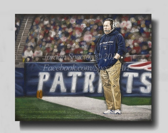 New England Patriots - Bill Belichick - Canvas Print - Patriot Wall Art - Patriots - Man Cave - Patriots Decor - Dorm Decor - Gifts Ideas