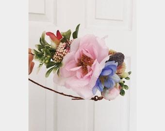 Wildflower flower crown, something blue crown, floral crown, spring crown, blush pink crown, woodland rustic crown, peony crown, dainty