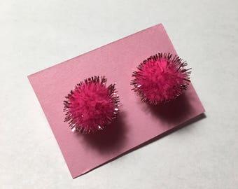 Dark Pink Fuzzy Stud Pom Poms Earrings