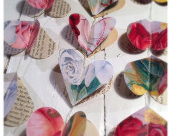 Heart Garland / bookpage bunting & rose / various custom lengths