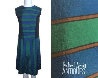 Vintage 1960's Drop-Waist Silk Dress - Fully Lined, Zipper Back - Retro, Mid Century Blue & Green Stripes - Size 8, Bust 36, Waist 35