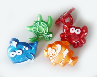 24 Beach Cuties Cupcake Rings Decorations Cake Toppers Party Favors Sea Creatures Luau