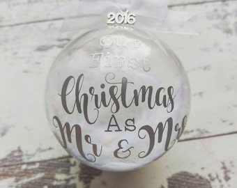 Mr&Mrs First Christmas tree decorations, Our First Christmas Decoration, Christmas Keepsake,Christmas Bauble, Christmas gift, Christmas dec