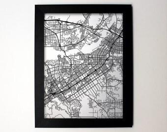 Riverside California Laser Cut Map, Riverside CA Street Map, Riverside Gift, Riverside Wall Art, Riverside Decor, Riverside Print