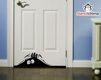 Peeking Monster Decals-Mean or Friendly-Perfect for doors!
