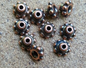 Cast 6mm Britania Pewter Bead Aligners, Terracast Antique Copper Plated x 10