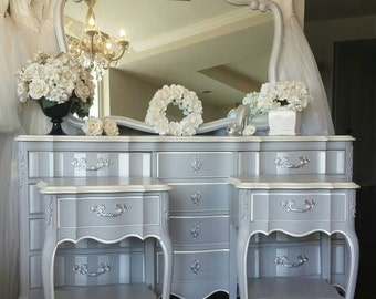 PENDING! Stunning Silvery Gray Pearl Dresser Mirror Nightstands Glam Hollywood Bedroom Vanity Stripe French Mancini Southern California