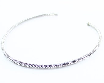 Vintage Silver Tone Cable Choker Necklace