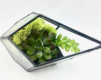 Artificial Succulent Terrarium, Faux Terrarium, Air Plant Terrarium, Fake Plant Terrarium, Geometric Terrarium