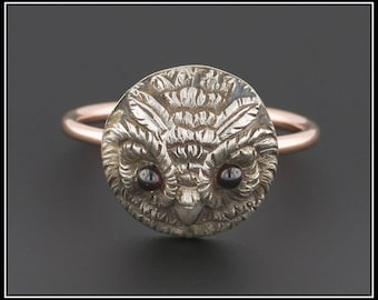 SOLD to A. - FINAL Payment- Vintage Owl Ring | Silver Owl Ring with 10k Gold Band | Owl Conversion Ring | Graduation Gift