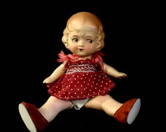 Antique Bisque Doll, Pudgy Toddler, Googly Eyes, Molded Hair, Jointed, 7 inches,Hand Painted Features, Collectible, Made n Germany, 1920s
