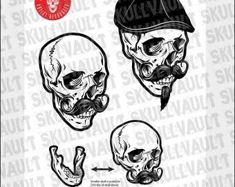 Hipster Cap Skull Vector Illustration