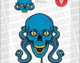 Comic Book Skull Vector Illustration - Skull Octopus