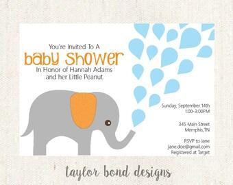 Baby Elephant- Baby Shower Invitation- Digital File- 5 x 7
