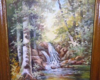 Small Vintage Oil/Waterfall/ Trees/ Pond/ Signed Emma B. Anderson