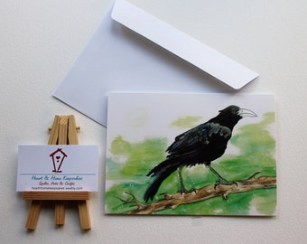 Fledgling Crow/ Blank Art Card 5 x 7/ Wildlife Art/ Canada Wildlife/ Black Young Crow