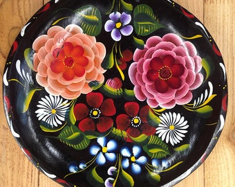 3 Vintage Bateas Wood Bowl Hand Painted Floral Wood Trays Wall Hanging Mexican Folk Art Mid-20th C #14 #16 #12 Price Includes Shipping