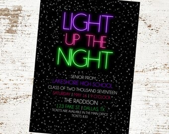 Neon Glow Invitation - Birthday - Baby Shower - Prom Announcement - Bridal Shower - Light up the Night