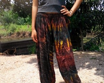 Ladies Tie Dye Pants - Balloon Pants,  Yoga, Gym, Beach. Elasticated Waist. Brown Mix