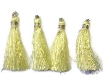 4 Light Yellow Silk Tassels