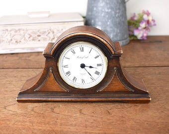 Edwardian style vintage reproduction wooden mantle clock