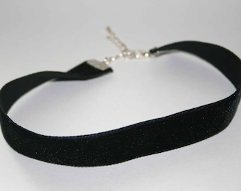 Handmade Black Velvet Ribbon Choker Style Necklace 15mm Silver Plated Fixings