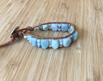 CatMar Artisan Design Blue Amazonite Beaded Wrist Wrap Bracelet with Light Brown Greek Leather Cord and Antique Silver Button