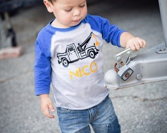 Tow Truck birthday shirt, wrecker birthday shirt, construction t-shirt, digger shirt, tow truck birthday party, digger party
