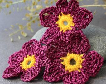 Crochet Flowers Applique, Crochet Applique Flowers 3.7 cm 3 pcs Crocheted Flowers Flowers Crochet Crochet Applique Handmade Applique Flowers