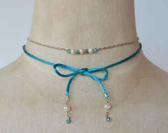 Silver Chain Necklace with Fresh Water Pearls Tiny Blue Turquoise Beads, Paired with Blue Turquoise Satin Cord with Dangling Pearl and Beads