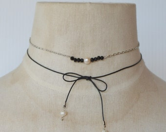 Silver Chain Necklace with Fresh Water Pearl Black Crystal Bead Paired with Black Thin Cord Wrap with Dangling Pearls