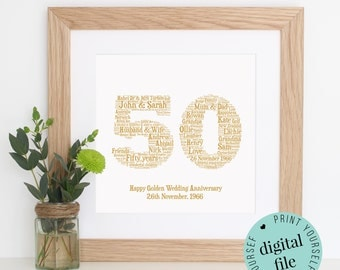 Personalised 50th ANNIVERSARY GIFT - Word Art - Gold Anniversary - 50th Wedding Anniversary Gifts - Gifts for Parents - Anniversary Card