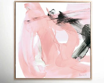 Printable Abstract Art, Pink and Black Art, instant download art, Large Abstract Art, Dan Hobday, Coral Pink, 40x40 art, living room art
