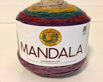 Lion Brand Mandala, color change yarn, multicolor yarn, new yarn cake, soft acrylic, variegated yarn, yarn destash, crochet yarn, knit yarn
