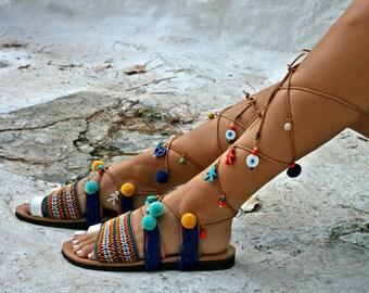 Lace Up Gladiator Pom Pom Boho Sandals  - Delos- Decorated sandals