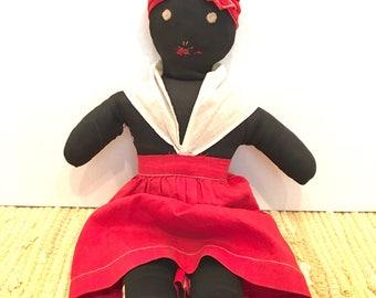 RARE 1930s Berea College Industries Black Cloth Doll