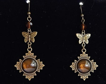 Antique Brass Earrings with Butterflies and Brown Beads
