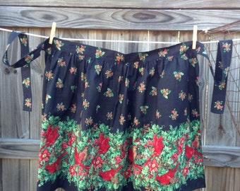 Vintage Black, Green, Red Apron Featuring Holly and Cardinals / Christmas / Winter