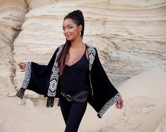 KIMONO Poncho, thick cotton poncho,  cotton poncho,woman poncho, etnic  poncho , japanese poncho ,african print poncho