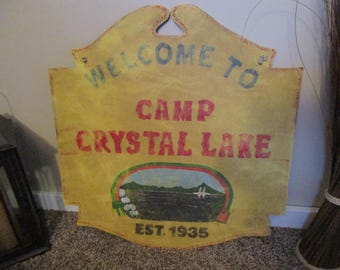 Weather worn Friday the 13th  Camp Crystal Lake sign