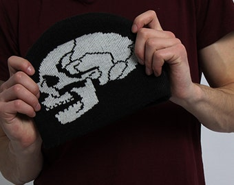 Black hat with white painted skull metal head cap goth scary painting
