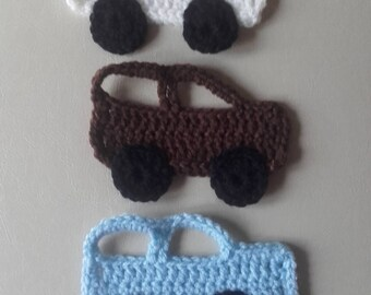 Crochet car motif, car motif, sewing supplies, appliques,  motif set of 3, ready to ship