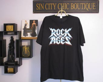 Rock Of Ages Shirt. Vintage T-shirt. Graphic Tee. Top. Retro Black X-Large. Rock & Roll Bands, Musicians. Concert Casual Urban Streetwear.