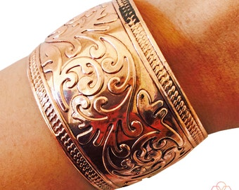 Fitbit Bracelet to hide and protect Fitbit Flex and Flex 2 Fitness Activity Trackers - The THELMA Engraved Copper Cuff Bracelet - Ships FREE